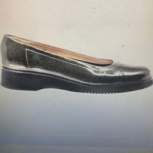 """""""FERRAGAMO"""" Black Patent Low Wedge Shoes."""